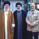 تصاویر دبیرکل حزبالله لبنان و فرمانده نیروی قدس سپاه در کنار رهبر انقلاب اسلامی
