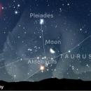 ملاقات ماه و ستاره  - دبران -  در آسمان بامدادی فردا