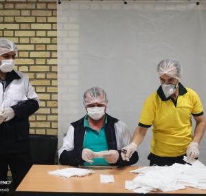 تصاویر کارخانجات تولید ماسک و مواد ضدعفونی کننده هلال احمر